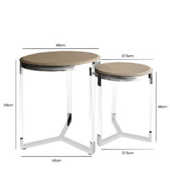 Set of 2 Faux Leather Taupe Round End Tables Metal And Acrylic Frame