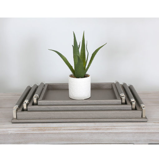 Set of 3 Rectangular Faux Leather Pewter Stackable Decorative Trays