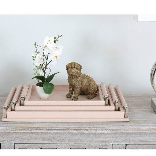 Set of 3 Rectangular Pink Faux Leather Stackable Decorative Trays