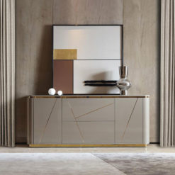 Xenia 2 Door 2 Drawer Grey Gloss Sideboard Cabinet With Gold Inlays